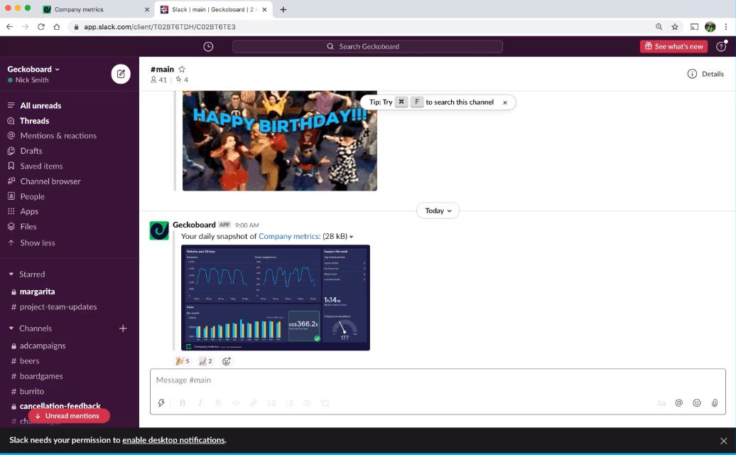 Geckoboard's Slack snapshot integration