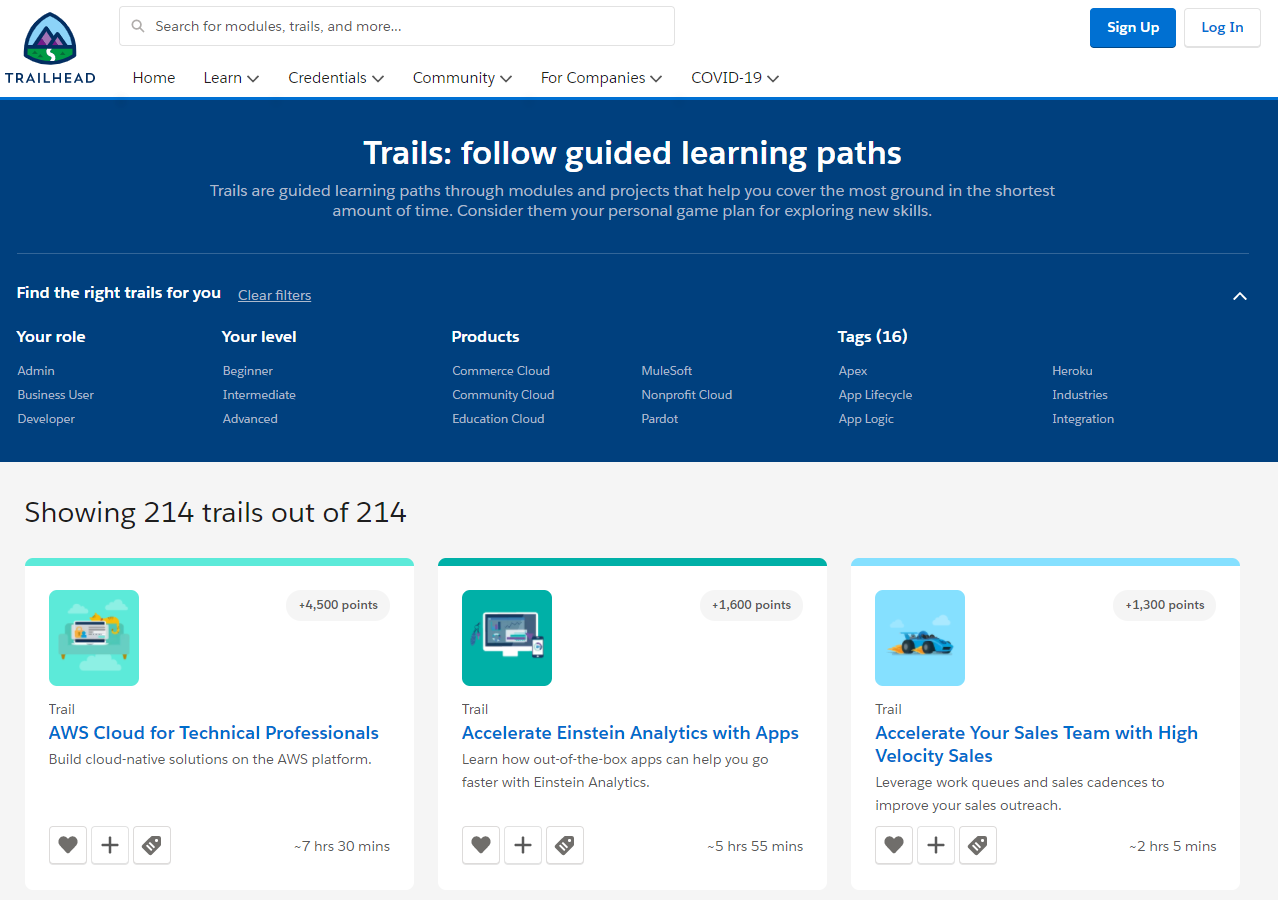 Salesforce Trailhead courses