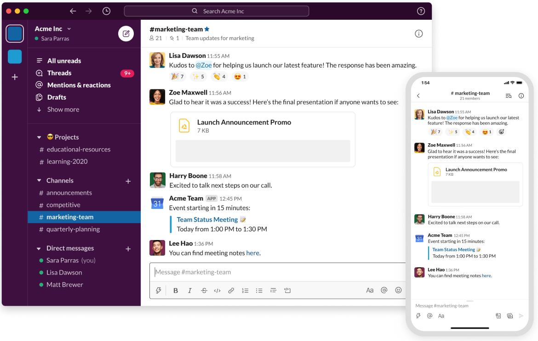 Screenshot of Slack
