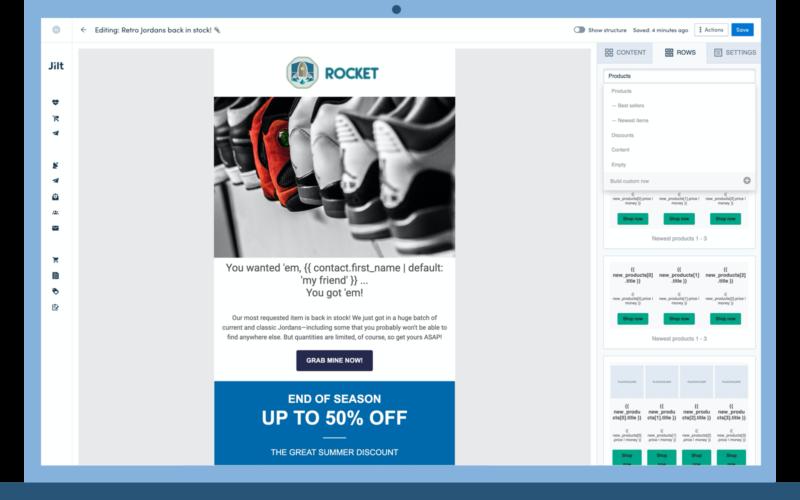Jilt email creation platform
