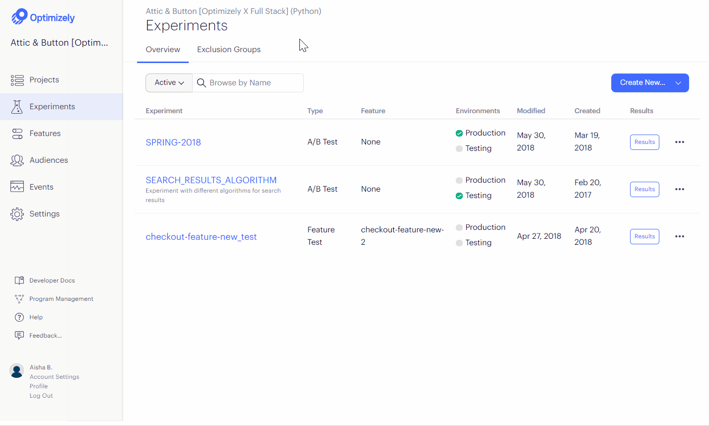 Optimizely experiment dashboard