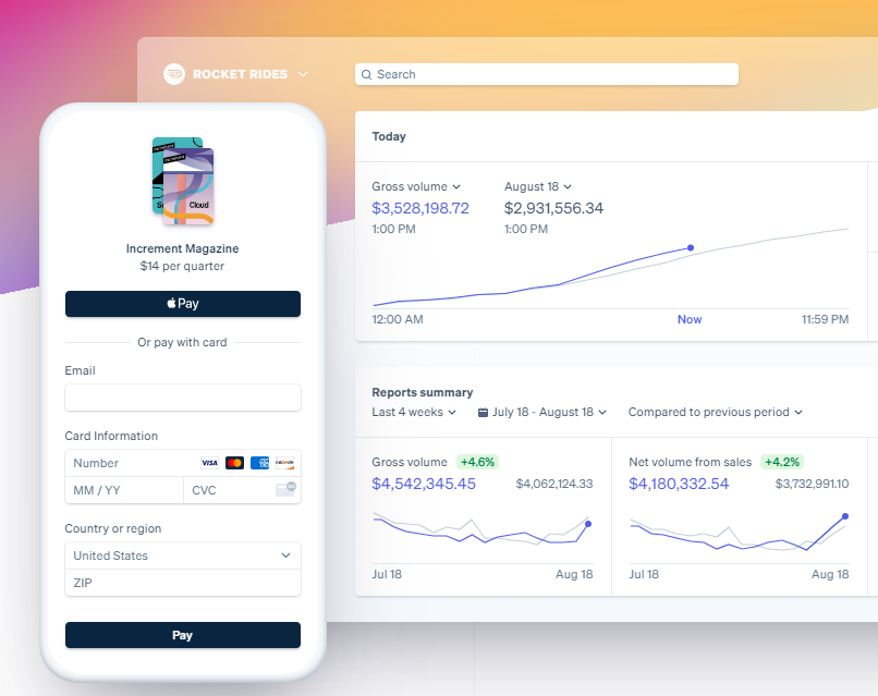 Example of Stripe on mobile