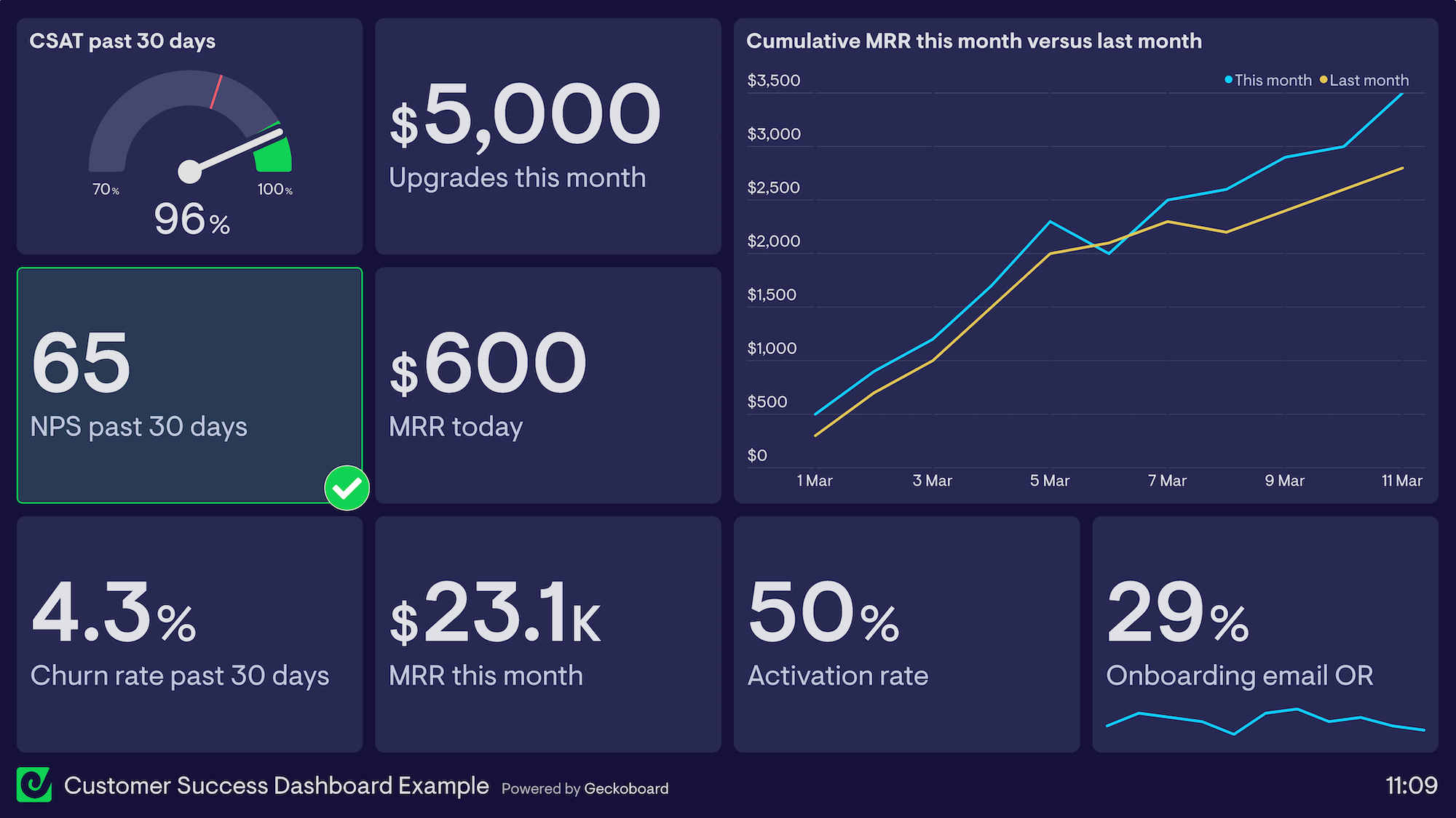 Customer Success Dashboard Example
