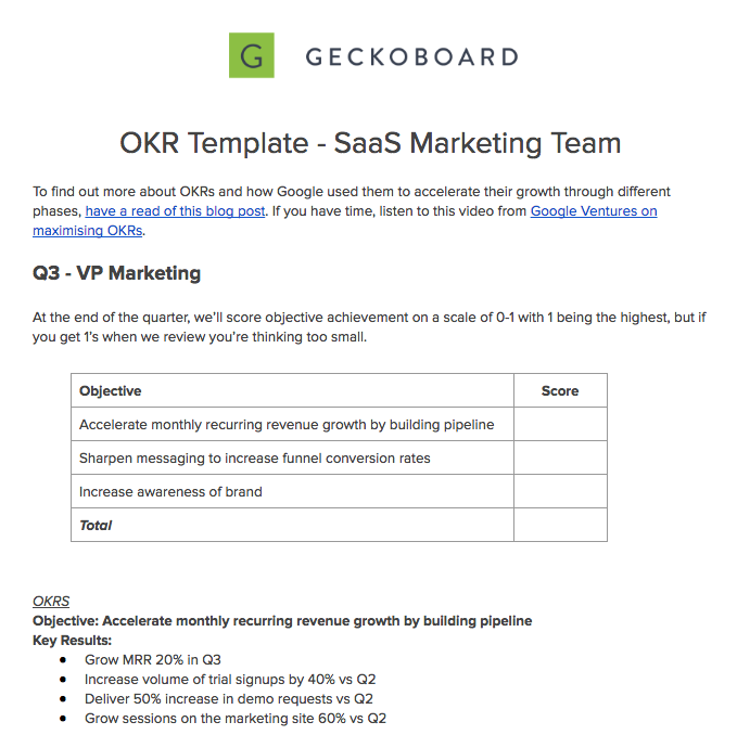 Marketing OKR Template Examples